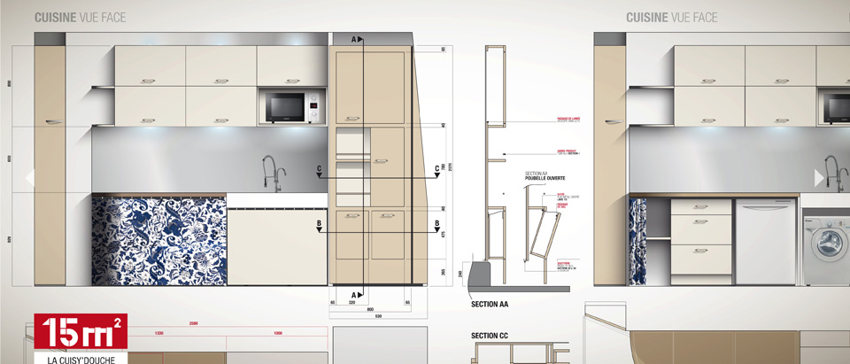 Amenagement cuisine studio amnagement studio tudiant avec for Plan amenagement cuisine 10m2